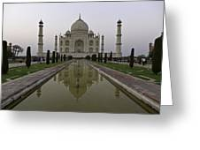 The Taj Mahal In Agra India At Dusk. Greeting Card