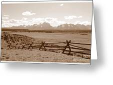 The Tetons In Sepia Greeting Card