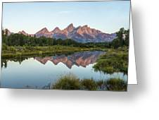 The Tetons Reflected On Schwabachers Landing - Grand Teton National Park Wyoming Greeting Card