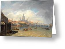 The Thames With Somerset House And St Pauls Cathedral Greeting Card