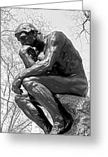 The Thinker In Black And White Greeting Card