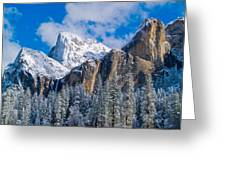 Cathederal Rocks And Bridalveil Greeting Card