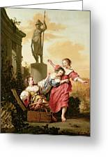 The Three Daughters Of Cecrops Discovering Erichthonius Greeting Card