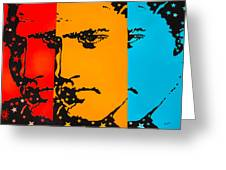 The Three Faces Of Elvis Greeting Card