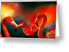 The Three Flamingos - Featured In 'feathers And Beaks' 'wildlife' And 'comfortable Art'  Groups Greeting Card