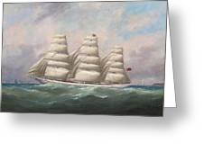 The Three-master Hahnemann In Full Sail Off A Headland Greeting Card