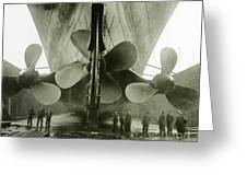 The Titanics Propellers In The Thompson Graving Dock Of Harland And Wolff Greeting Card by English Photographer
