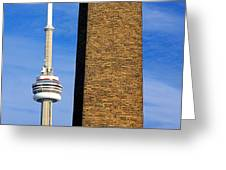 The Tower And The Stack Greeting Card