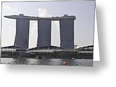 The Towers Of The Iconic Marina Bay Sands In Singapore Greeting Card
