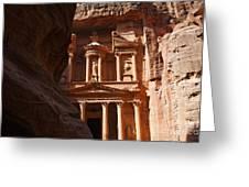 The Treasury Seen From From The Siq Petra Jordan Greeting Card by Robert Preston
