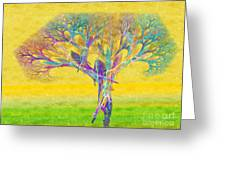 The Tree In Spring At Midday - Painterly - Abstract - Fractal Art Greeting Card