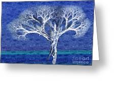 The Tree In Winter At Dusk - Painterly - Abstract - Fractal Art Greeting Card