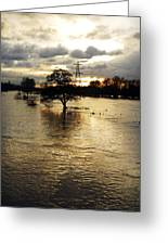 The Trent Washlands In Full Flood Greeting Card