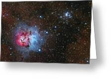 The Trifid Nebula And Messier 21 Greeting Card