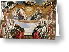 The Trinity Adored By The Duke Of Mantua And His Family Greeting Card