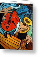 The Tuba Player Greeting Card by Valerie Vescovi