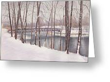 The Tulip Tree Bridge In Winter Greeting Card by Elizabeth Dobbs