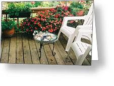 The Upper Deck With Stain Glass Table Greeting Card