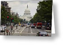 The Us Capitol Building From Pennsylvania Avenue Greeting Card
