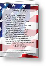 The U.s.a. Flag Poetry Art Poster Greeting Card