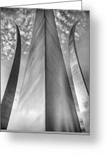 The Usaf Memorial In Black And White Greeting Card by JC Findley