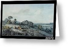 The Valley Of The Stour, Looking Towards East Bergholt, 1880 Pencil, Pen And Ink And Watercolour Greeting Card