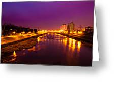 The Vardar River In Skopje At Night. Greeting Card by Slavica Koceva