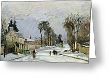The Versailles Road At Louveciennes Greeting Card