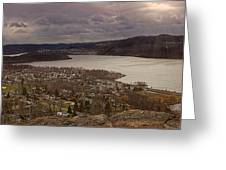 The Village Of Cold Spring And The Hudson River Greeting Card