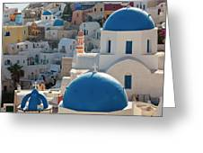 The Village Of Oia Santorini Cyclades Greeting Card