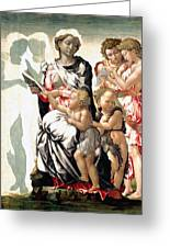 The Virgin And Child With Saint John And Angels Greeting Card