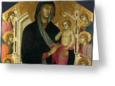 The Virgin And Child With Six Angels Greeting Card