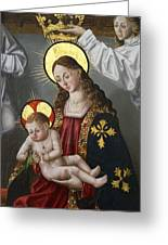 The Virgin And The Child With The Parrot Greeting Card