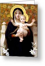The Virgin Of The Lilies Greeting Card