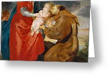 The Virgin Presents The Infant Jesus To Saint Francis Greeting Card