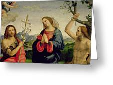 The Virgin With Saints Sebastian And John The Baptist Greeting Card