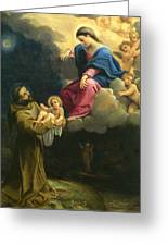 The Vision Of Saint Francis  Greeting Card by Carracci Ludovico