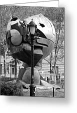 The W T C Plaza Fountain Sphere In Black And White Greeting Card