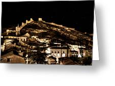 The Walls Of Albarracin In The Summer Night Spain Greeting Card