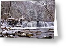 The Waterfall Near Valley Green In The Snow Greeting Card