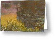 The Waterlilies At Setting Sun Greeting Card