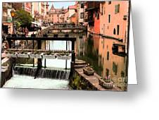The Waterways Of  Old Annecy Greeting Card
