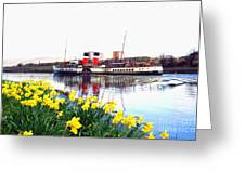 The Waverley Sails Down The River Clyde. Greeting Card