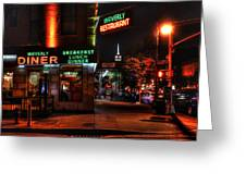 The Waverly Diner And Empire State Building Greeting Card
