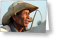 The Weathered Face Of An Ox Cart Driver Greeting Card