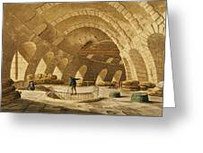 The Wheat Store, Rue De Viarmes, Engraved By I. Hill Coloured Engraving Greeting Card