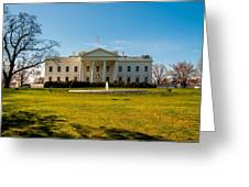 The White House In Washington Dc With Beautiful Blue Sky Greeting Card
