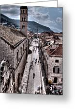 The White Tower In The Stradun From The Ramparts Greeting Card