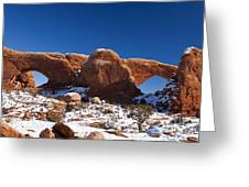 The Windows In Snow Arches National Park Utah Greeting Card