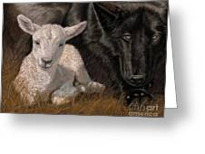 The Wolf And The Lamb Greeting Card by Sheri Gordon